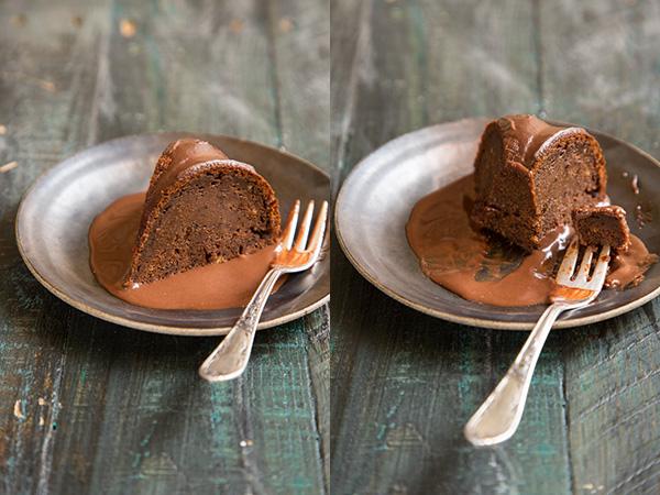חפצים - עיצוב הבית עוגת פודינג חמה של שזיפים מיובשים ורוטב שוקולד