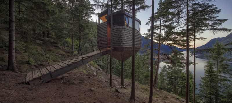 חפצים ולו שהעינייים יטיילו למרחקים<br><br> בקתת נופש – קן ביער - Woodnest <br><br>נורווגיה - Odda